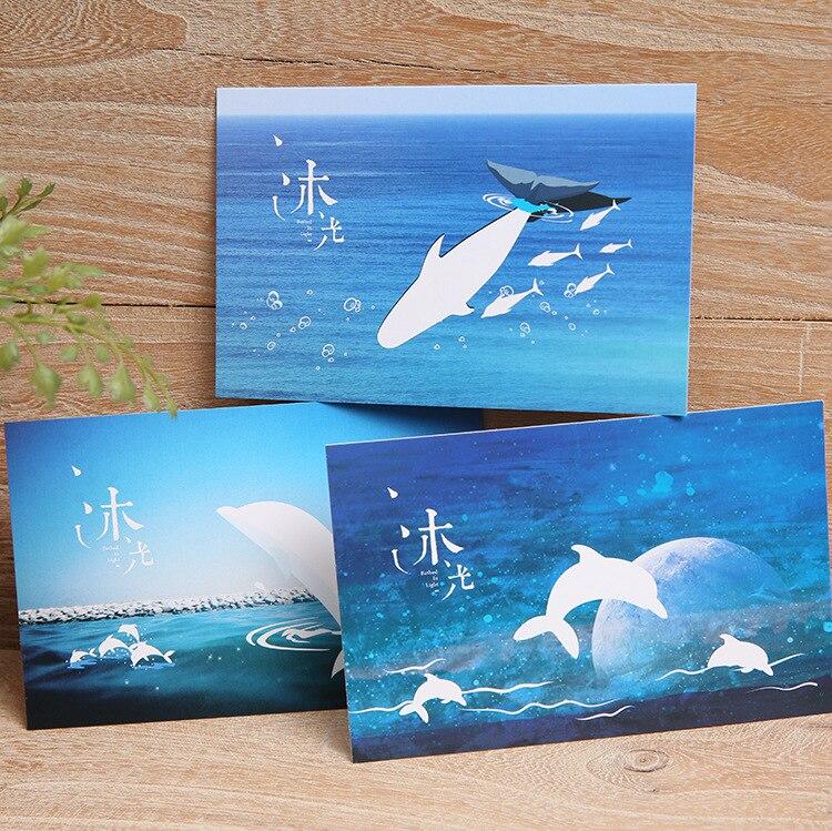 20 Pcs/lot Starry Night Scratch Postcard Cute Dolphin  Hidden Message Card  Merry Christmas Postcard  Gift Card Love Card