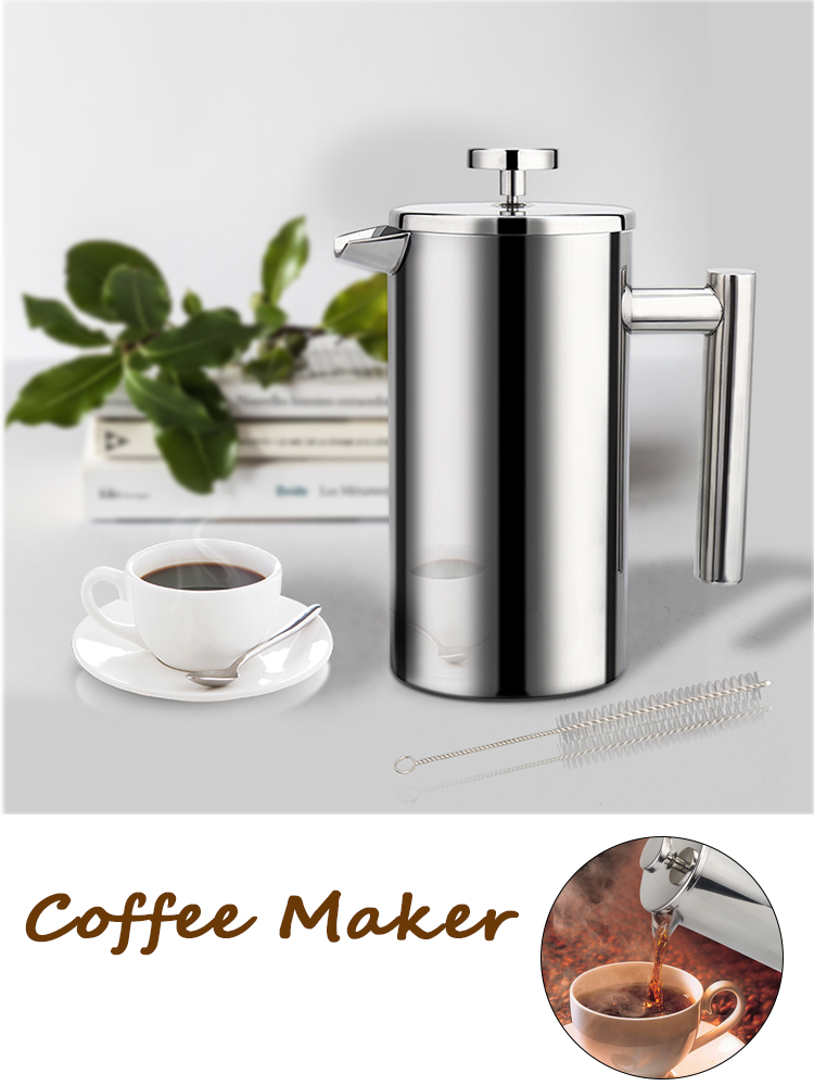 Percolator-Pot Coffee-Maker French-Press Cafetiere Stainless-Steel Manual Large-Capacity