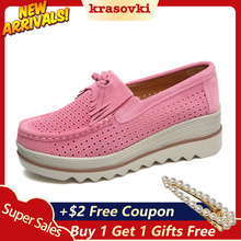 Krasovki Platform Shoes Tassel Slip on Creepers Summer Breathable Sneakers for Women moccasins Suede Loafers new sneakers