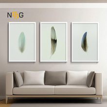 NOOG Nordic Decorative Minimalist Feather Pop Wall Art Canvas Poster And Printed Painting Living Room Decoration Picture