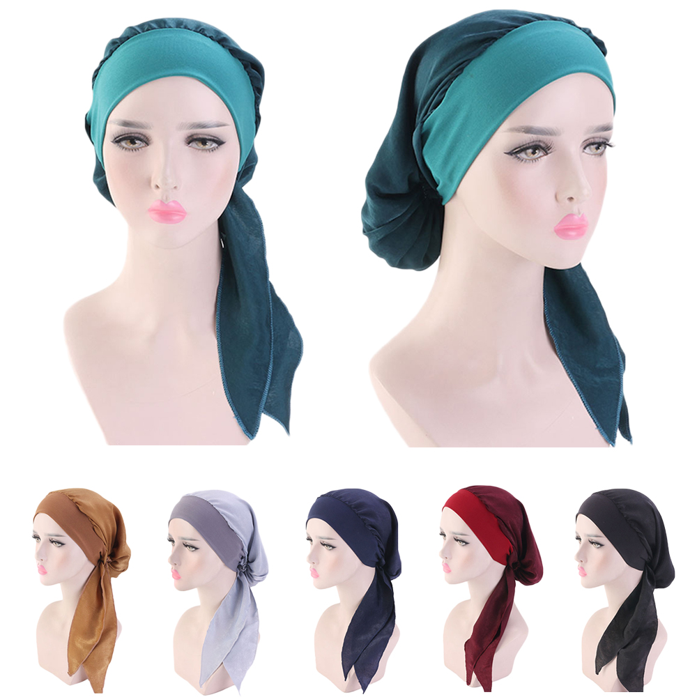 Muslim Women Beanie Turban Hat Head Scarf Stretchy Wrap Bandana Hijab Cap Hair Loss Flower Print Cancer Chemo Cap Arab Indian