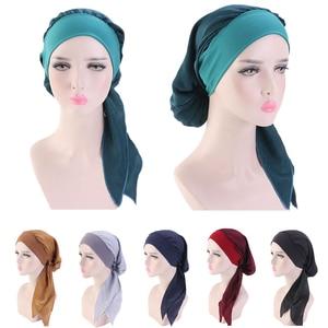 Image 1 - Muslim Women Beanie Turban Hat Head Scarf Stretchy Wrap Bandana Hijab Cap Hair Loss Flower Print Cancer Chemo Cap Arab Indian