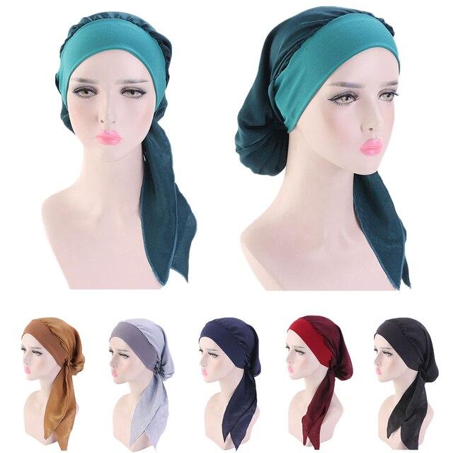 Muslim Women Beanie Turban Hat Head Scarf Stretchy Wrap Bandana Hijab Cap Hair Loss Flower Print Cancer Chemo Cap Arab Indian