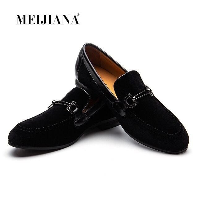 MEIJIANA גברים לופרס שחור קטיפה עם קולעת שטוח להחליק על מוקסינים גברים של שמלת נעלי עור אמיתי נעליים יומיומיות