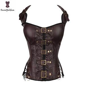 Image 1 - Coffee Steampunk Corset Women Sexy Neck Strap Black Gothic Corsets And Bustier Overbust Outwear corselet Top Fashion Corselet