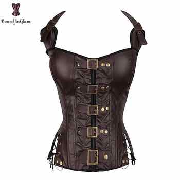 Coffee Steampunk Corset Women Sexy Neck Strap Black Gothic Corsets And Bustier Overbust Outwear corselet Top Fashion Corselet - DISCOUNT ITEM  27% OFF All Category