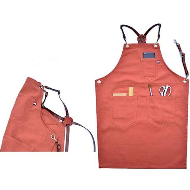 New Long Cotton Apron Leather Strap Barista Bartender Cafe Uniform  BV64