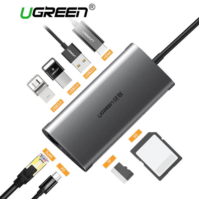 Ugreen USB HUB USB C a HDMI VGA RJ45 PD Thunderbolt 3 adattatore per MacBook Samsung Galaxy S9 Huawei P20 Pro Type-C USB 3.0 HUB