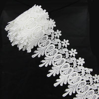 3 Pcs Of White Black Polyester Lace Trim Flower Lace Applique Sewing Garment DIY Accessories High