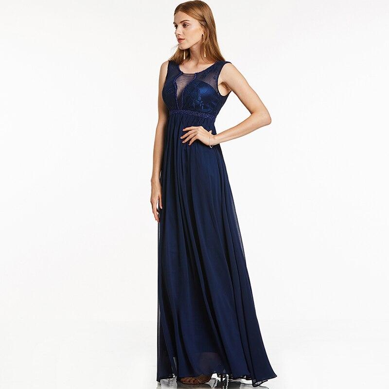 Tanpell spitze lange abendkleid dunkle royal blue sleeveless ...