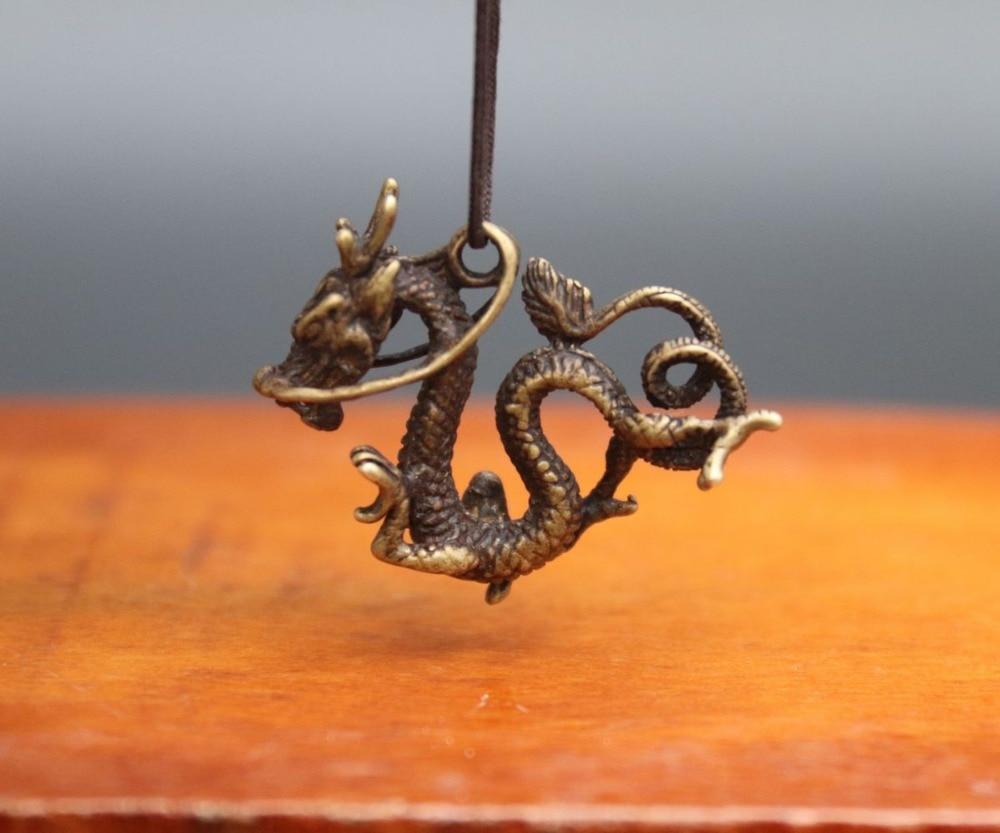 4 cm Chinese Bronze Counteract Evil Force Zodiac Animal Dragon Amulet Pendant