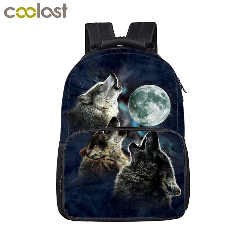 Cool Moon Howling Wolf Backpack For Teenage Children School Bags Women Men Travel Bags Laptop