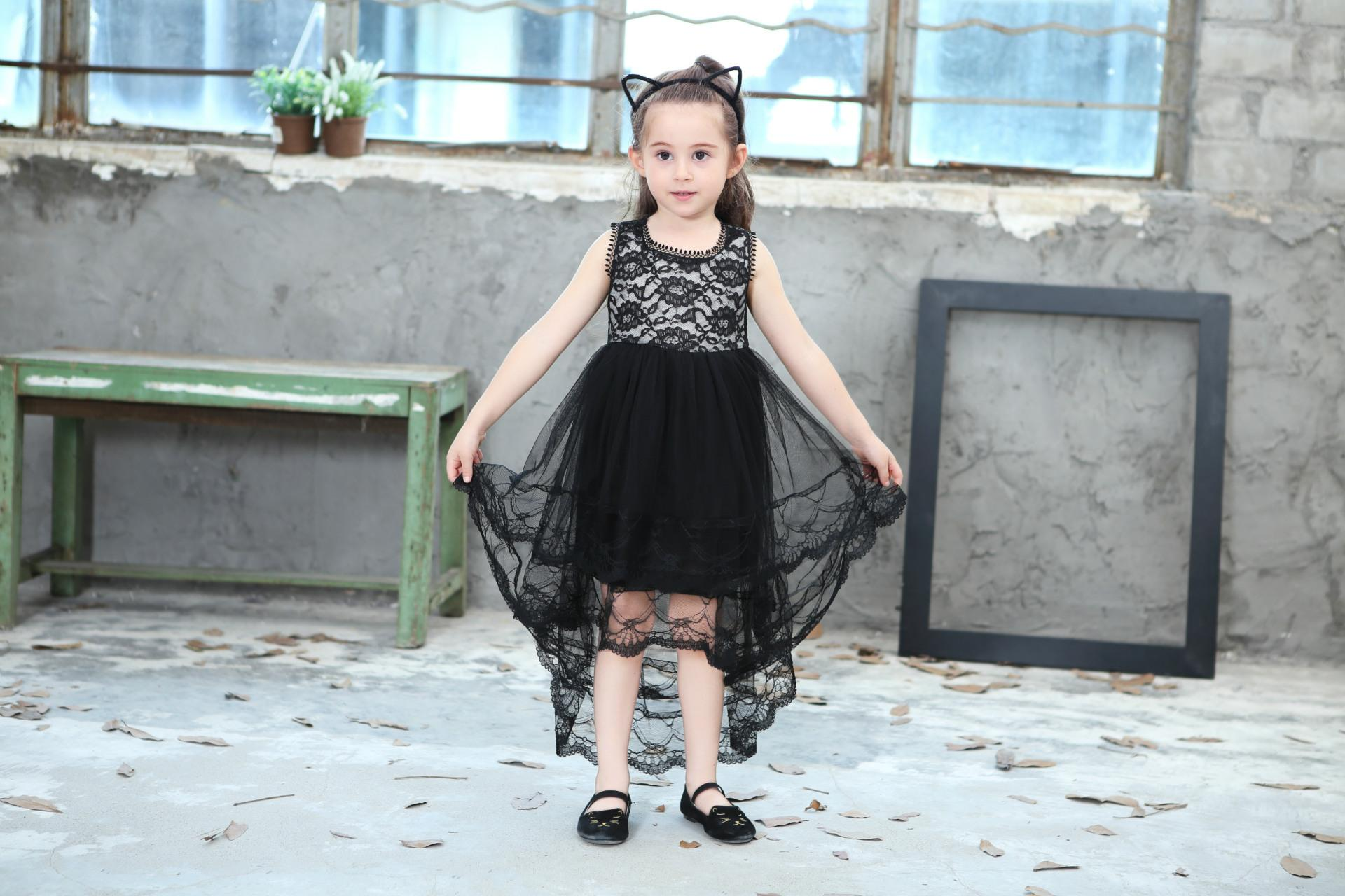 2018 New Summer Girls Ball Gown Dresses Mesh Girls Clothes Princess Wedding Party Dress Pageant Children Clothes 1