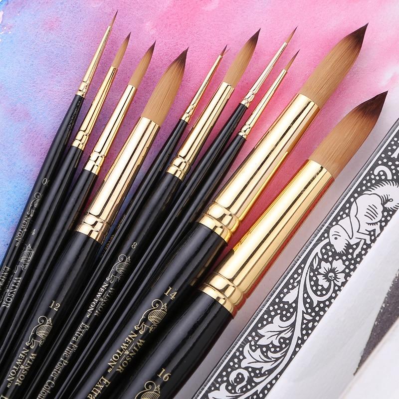 Winsor & Newton Black Handle Nylon Round Paint Brushes For Gouache Paint/Watercolor/Acrylic Paint Art Tools Painting Supplies