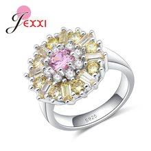 72d49425cd5b JEXXI las mujeres de alta calidad de la plata esterlina 925 Anillos De  Compromiso chica delicada Shinny CZ cristal boda joyería .