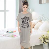 2017 New Summer Lady Long   Nightgown     Sleepshirts   Cute Lovely Cartoon Animal Sleepwear Short Sleeve Cotton Women Nightdress