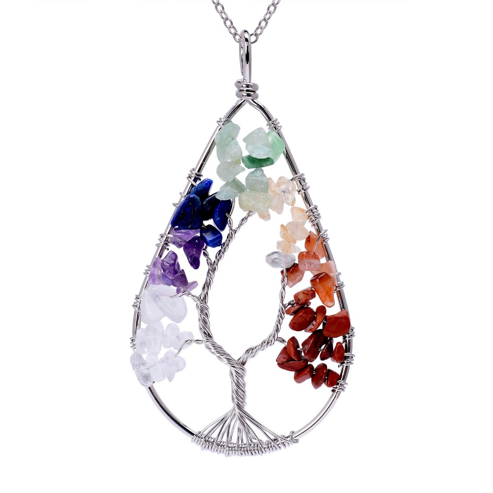Handmade Wisdom Life Tree Pendant 7 Chakra Stone Rainbow Crystals Necklaces  Women Or Men Valentineu0027s Day Gift In Pendant Necklaces From Jewelry ...