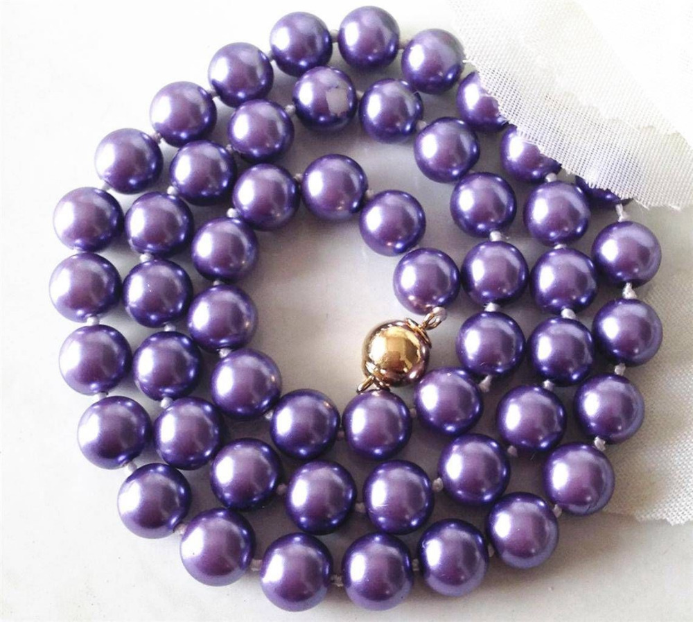 Jewellery 12mm Purple South Sea Shell Pearl Necklace 18AAA style Fine Noble real Natural shipping ##a #a