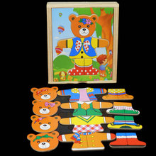 Exempt postage, bear the garment puzzle, baby educational toys, wooden puzzles, childrens toys wholesale