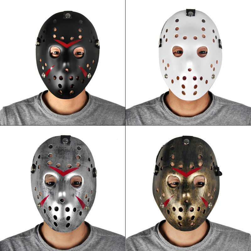 Золотые винтажные Вечерние Маски, украшенные Jason Voorhees Фредди, хоккейный фестиваль, Хэллоуин, маскарад, страшная маска, полное лицо