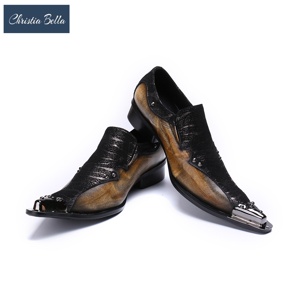 Christia Bella Italian Style Luxury Men Shoes Genuine Leather Pointed Toe Men Dress Shoes Business Style Men Brand Oxfords Shoes