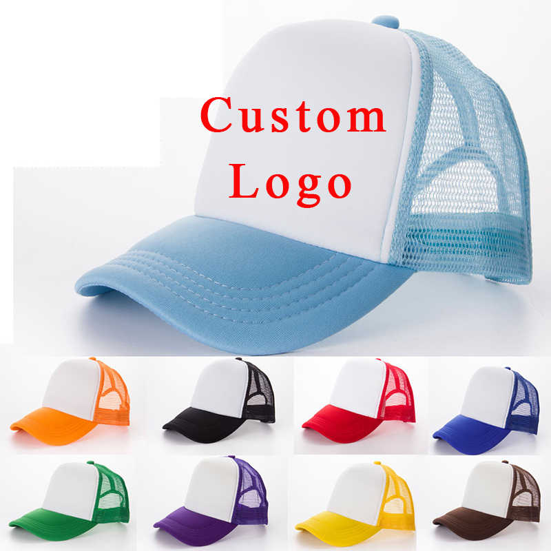 d0ae42a6546ff 1 PCS Free Custom Logo Baseball Cap Adult Child Personality DIY Design Trucker  Hat 100%