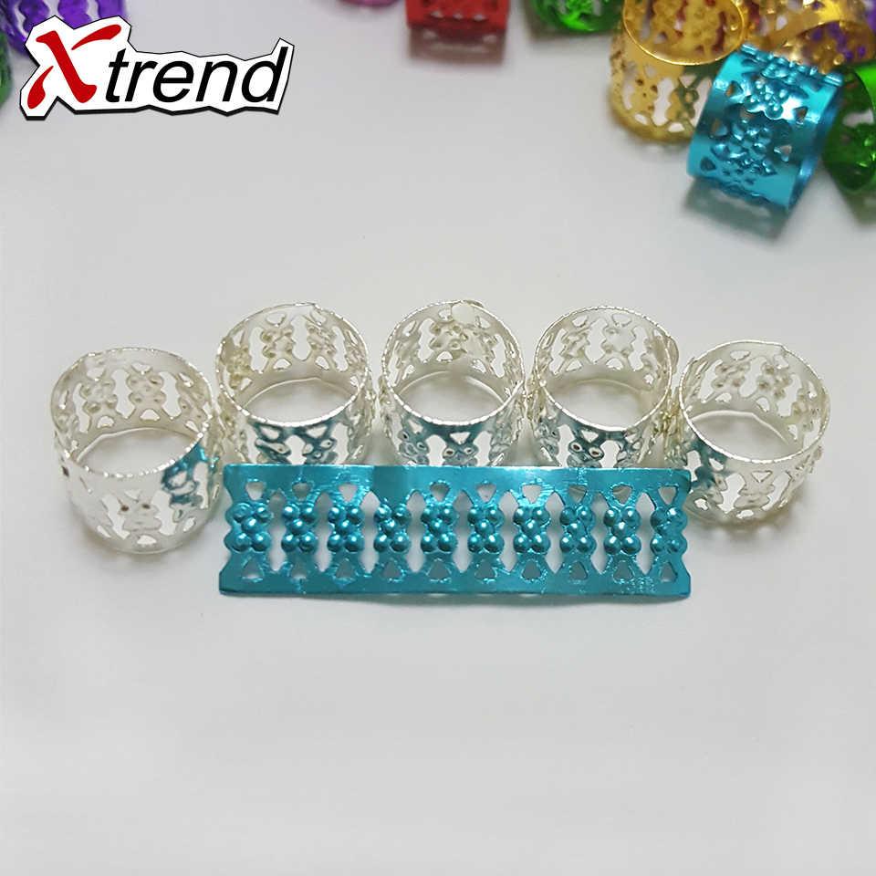 Xtrend 200 stks/partij beauty candy kleur Dreadlock Kralen Verstelbare Aluminium metalen Haar Ringen voor Vlechten Dreadlock Ringen 9 kleur