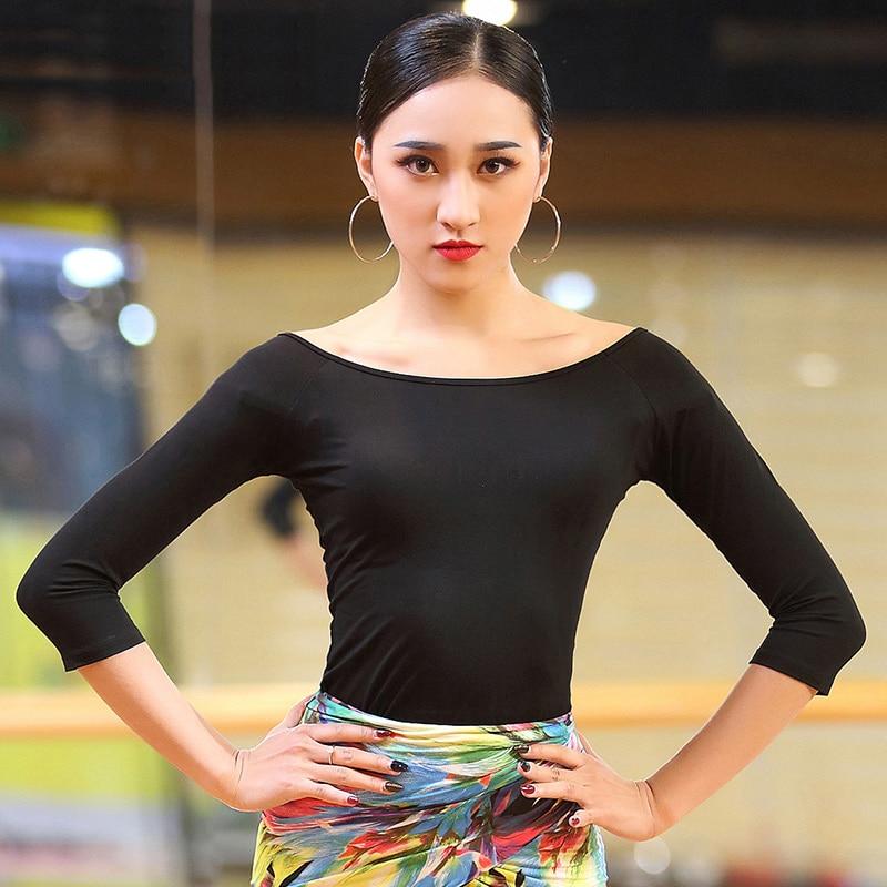 Sexy Latin Dance Tops For Ladies Black Beauty Blue Shirts High Quality Feminine Women Wear Ballroom Flamenco Tops Clothes W8200