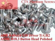 Tornillos de titanio, 6 32x1/4 botones, cabezal Torx T10, Driver Ti GR2 pulido, 50 Uds.