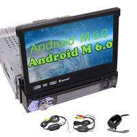 Wireless Camera+Android 6.0 Quad Core 1 Din DVD Player 7'' Car Stereo map GPS Navigation Bluetooth Head Unit Auto Radio Receiver