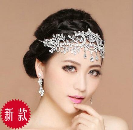 2015 new design bride rhinestone wedding eyebrows hair accessory princess forehead jewelry