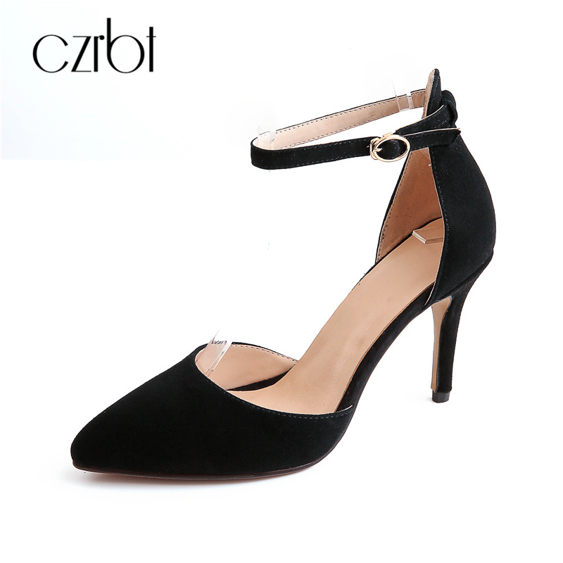 CZRBT Fashion Lindy Summer Sheep Suede Ankle Strap Thin Cover High Heels (9cm) Women Sandals Shoes Handmade Pointed Toe TPR Solo