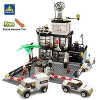 KAZI 6725 Toy City Building Blocks DIY Police Station Prison Figures Enlighten Bricks Blocks Toy For