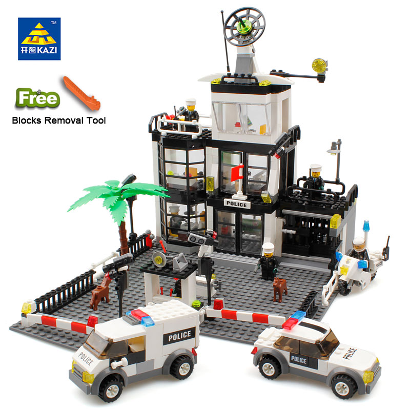 KAZI 6725 Toy City Building Blocks DIY Police Station Prison Figures Enlighten Bricks Blocks Toy For Kids Compatible Legoed kazi 608pcs pirates armada flagship building blocks brinquedos caribbean warship sets the black pearl compatible with bricks