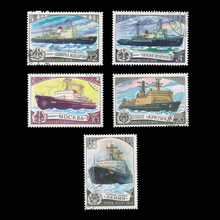 warship, 5  PCS / Lot , All Different , From CCCP With Post Mark In Good Condition For  Collection