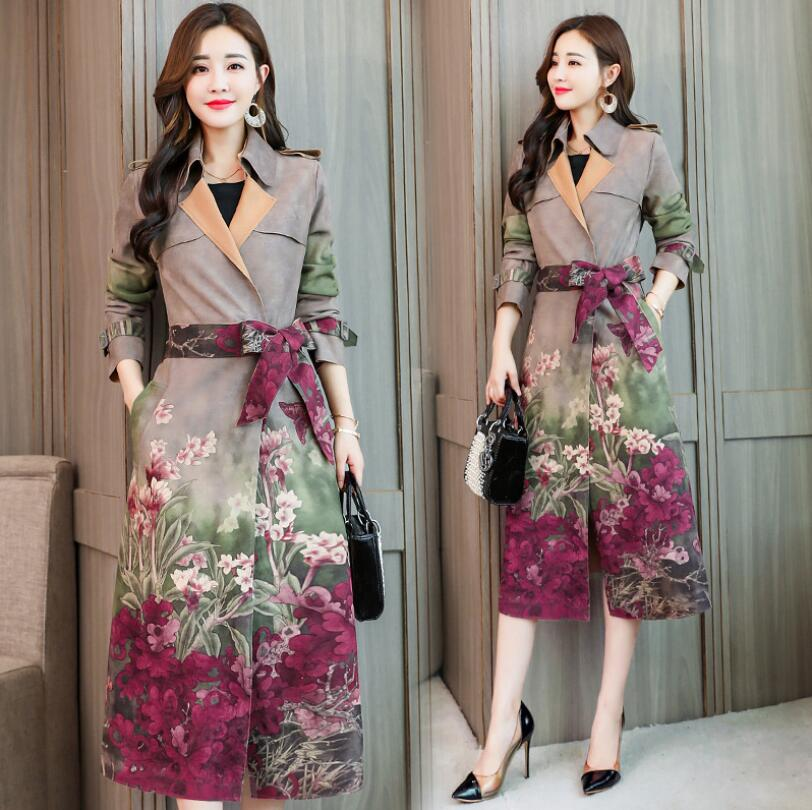 Vintage Printing Suede   Trench   Coat Women Spring Autumn Long Outwear Female Windbreaker Suede Cardigan   Trench   With Belt w334