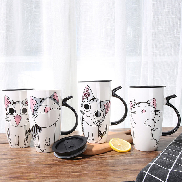 Cute Cat Shaped Ceramic Mugs