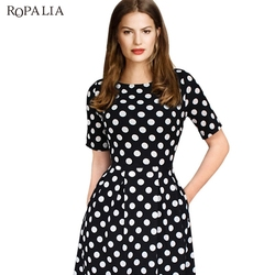 ROPALIA Summer Polka Dot Vintage Dress Elegant Women Short Sleeve Work Office Casual Party A Lin Dresses Vestido T7 3