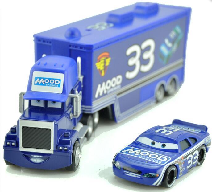 Дисней Pixar Тачки 2 3 игрушки Молния Маккуин Джексон шторм мак грузовик 1:55 литая под давлением модель автомобиля для детей рождественские подарки - Цвет: Two cars 8