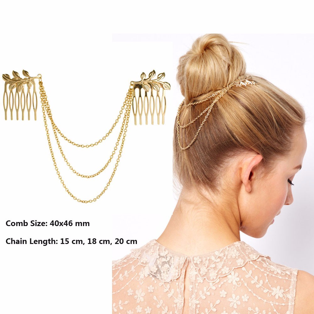 Hot Cheap-fine Vintage Hair Accessories Double Gold Chain With Leaf Comb Head New Headbands For Women Girl Lady