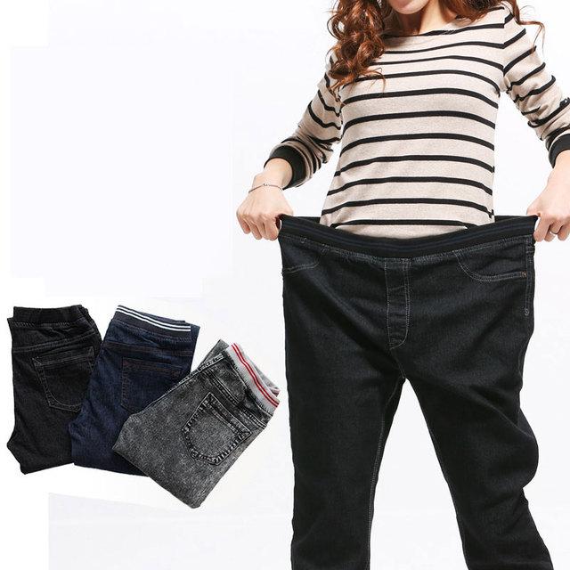 Nova Chegada da Primavera e do Outono Estilo Plus size 6XL 117Kg calças de Brim das mulheres Mostram Fina Calças Femininas Inverno Elástico Na cintura elástica grande
