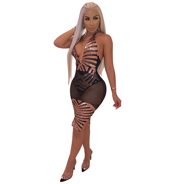 Sheer Mesh Sexy Sequin Dress Women Halter Open Back See Through Sparkly  Bodycon Dress Night Party Night Club Dress Vestidos c88f4776fdbd