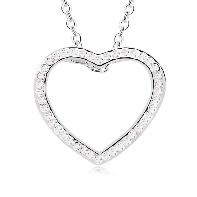 Large Heart Pendant Necklace Crystal From Austria Chain Collares for Women Lovers Gift Wholesale
