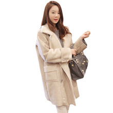 2017 Winter Coat Women Loose Wool Coat Parka Lamb Suede Coat Female Wadded Cotton Jacket Women Basic Coats,Manteau Femme C2404