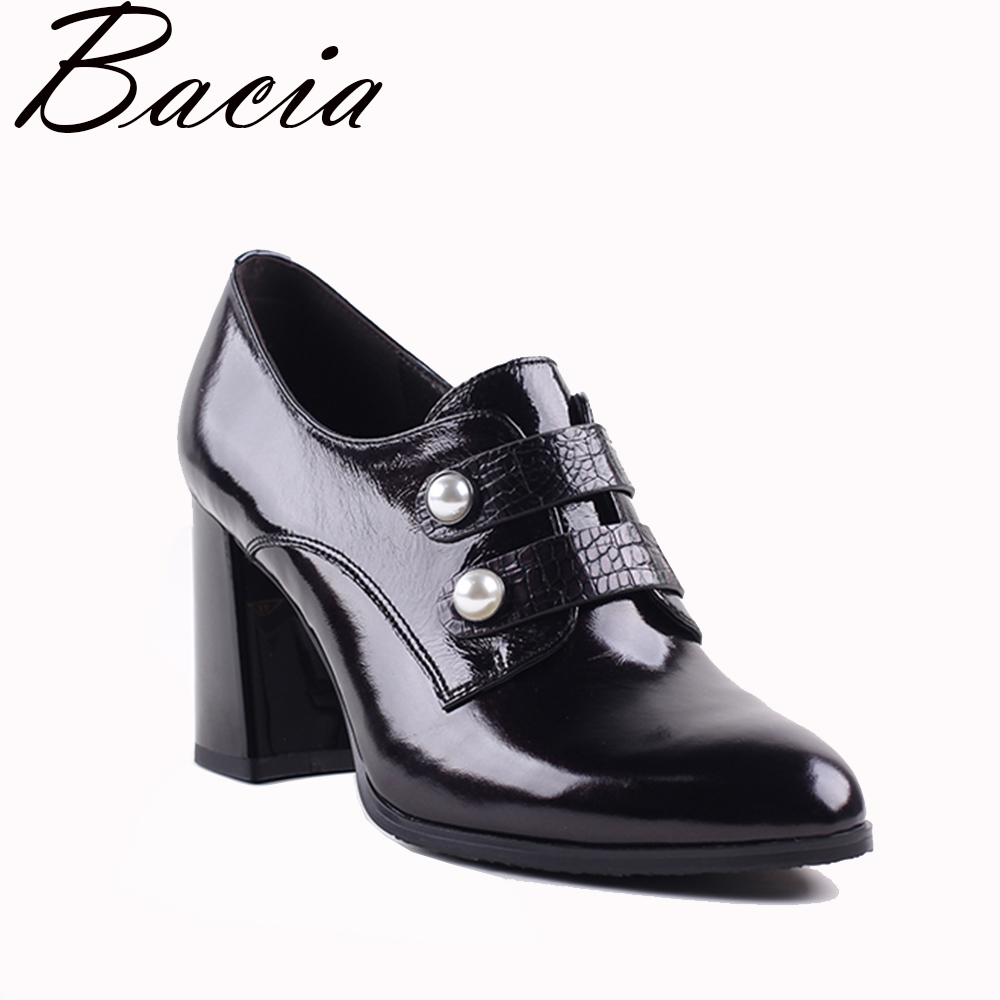Bacia New High Thick Heels Office Shoes Cow Leather Female Pumps Ladies Genuine Leather Heels Women Shoes Size 35-40 VXA002 цена