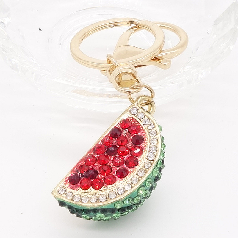 Key Ring Purse Bag watermelon Rhinestone CZ Keyring Keychain charm Pendant Gift