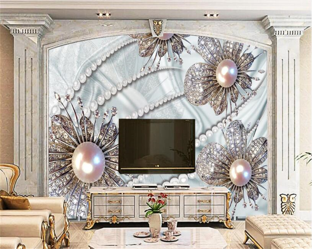beibehang papel de parede wallpaper Modern Classic Indoor Silk Cloth 3d Wallpaper Diamond Flower Three dimensional Background in Wallpapers from Home Improvement