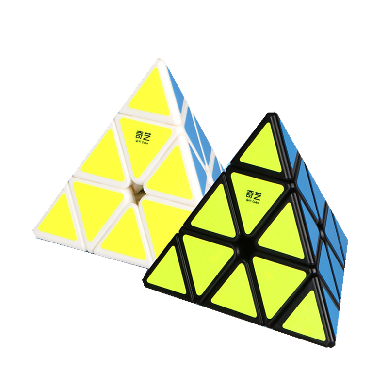 QiYi Pyraminx Cubo Magico Black And White Original QiMing A Pyramid Plastic Puzzle Cube Kids Toys Professional Speed Magic Cube dayan 5 zhanchi 3x3x3 brain teaser magic iq cube white
