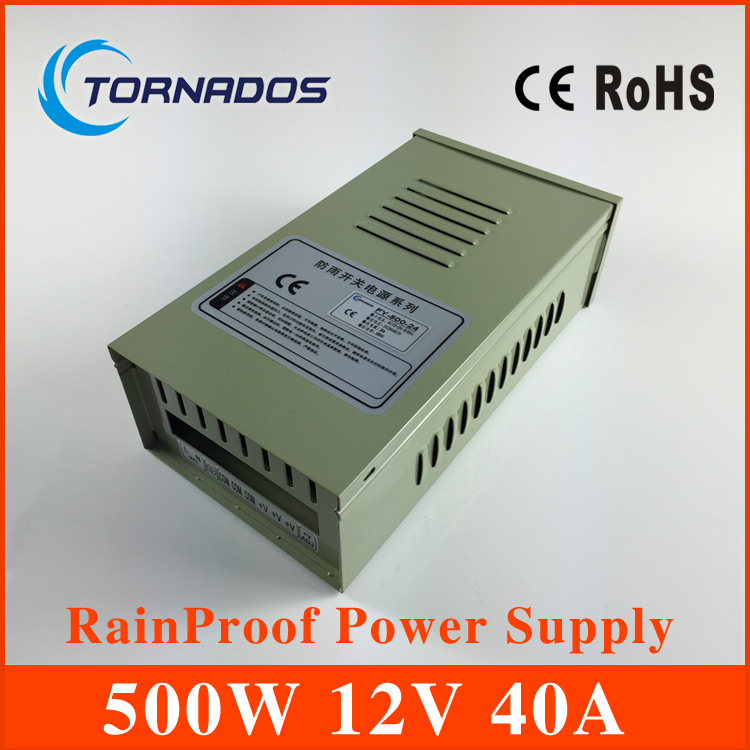 500W 12V 40A ac dc Rainproof power supply Single Output outdoor Switching Power Supply foe Led Strip Light CNC CCTV FY-500-12 hot sale 12 volt switching power source supply rainproof 12v 15 200w fy 201 12 16 5a single output china