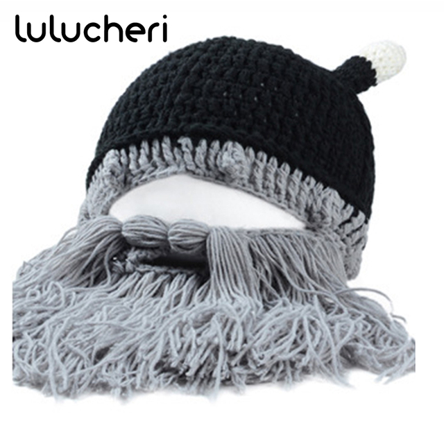 7328ff38 US $15.12 11% OFF|Knitted Hats Barbarian Vagabond Viking Beard Beanies Men  Women Winter Warm Caps Funny Halloween Christmas Party Gifts Handmade-in ...
